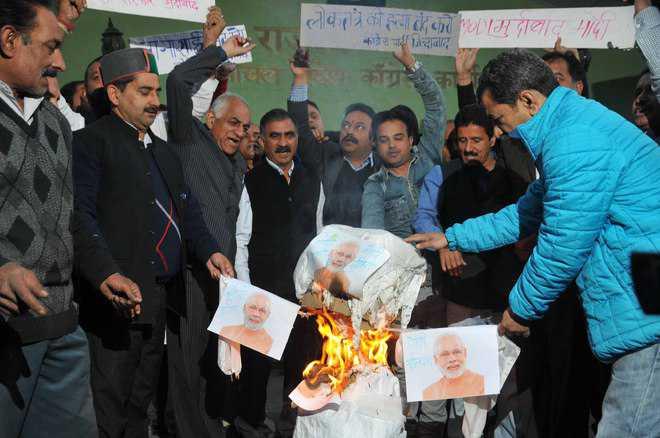 Himachal Congress Modi's Effigy Burnt