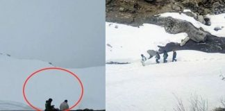 lahaul students crossing rohtang pass on foot