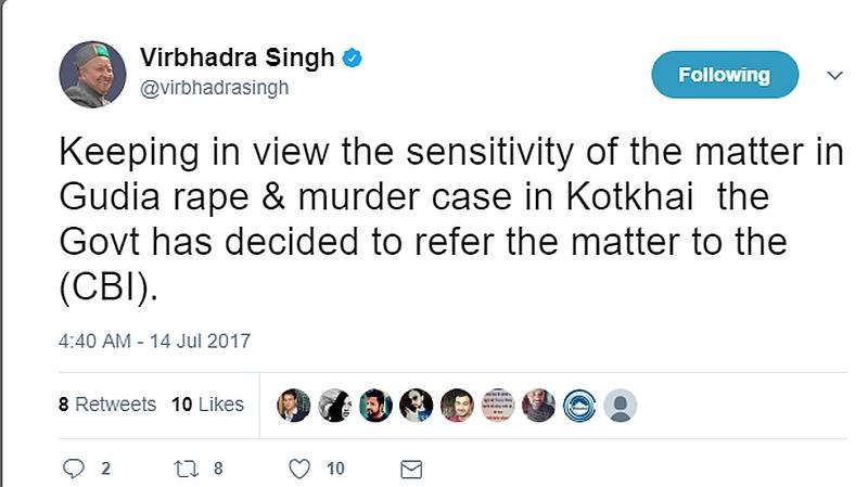 Virbhadra Singh Twitter Account
