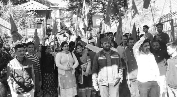 Protest at AG Office Shimla over removal of outsource workers